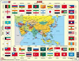 Puzzle MAXI - Mapa ASIE + vlajky/70 dílků - neuveden