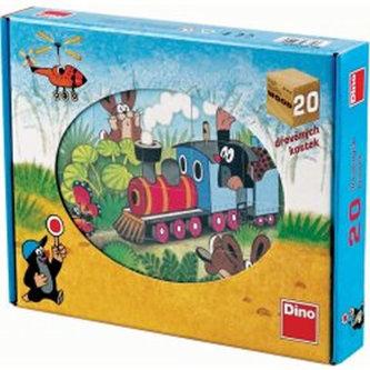 Krtek a dopravní - Dřevěné kostky 20 ks - Dino Toys