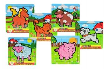Mini puzzle Moje první zvířátka dřevěné 9 dílků pro nejmenší v krabičce - TEDDIES s.r.o.