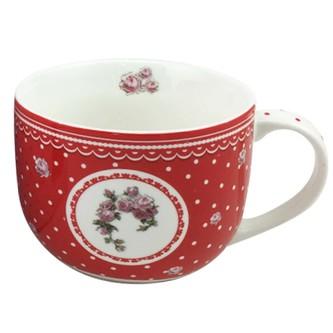 Home Elements porcelánový hrnek Elegant red 500 ml - bílé tečky