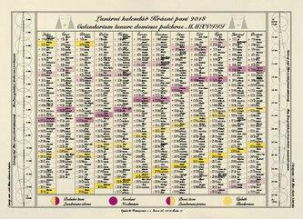 Jednolistý Lunární kalendář Krásné paní 2018 - Kanyzová Žofie