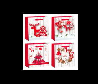 Dárková taška na láhev - Vánoční motiv/12x36x9 (mix) - neuveden