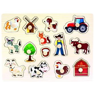 Dřevěné puzzle farma - neuveden