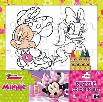 Omalovánkové puzzle s voskovkami Minnie