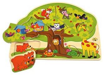 BINO - Dřevěné puzzle - Veselá zvířátka