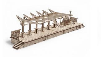 Dřevěný mechanický model Vlakové nástupiště