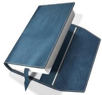 Obal na knihu kožený se záložkou Modrý