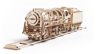 Dřevěný mechanický model Parní lokomotiva