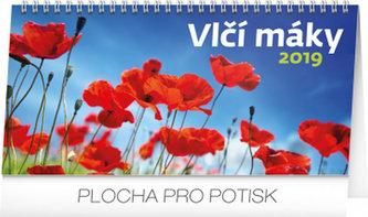 Kalendář stolní 2019 - Vlčí máky řádkový, 25 x 12,5 cm - neuveden
