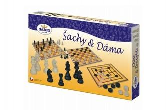 Šachy a dáma dřevo společenská hra v krabici 35x23x4cm - Detoa