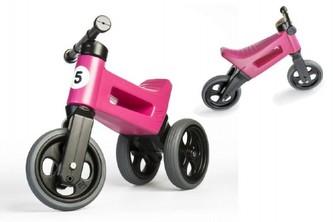 Odrážedlo růžové FUNNY WHEELS NEW SPORT 2v1 výška sedadla nastavitelná 28/31cm nosnost 50kg 18m+ - Teddies