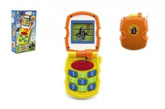 Krtkův mobil telefon měnící obrázky Krtek žlutý plast se světlem a se zvukem v krab. 12x21x5cm 6m+ - Teddies