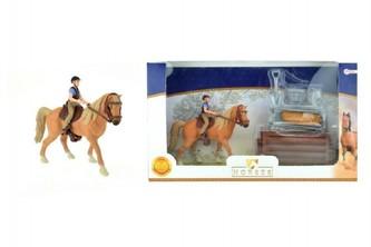 Teddies - Sada kůň + žokej s doplňky farma plast v krabici 34x19x5cm