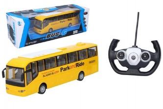 Autobus RC plast 28cm na dálkové ovládání + bateriový pack se světlem v krabici 40x13x13cm - Wiky