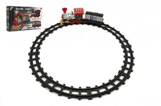Teddies - Vlak/Lokomotiva s vagónkem a dráhou 10ks plast na baterie v krabici 37x23x7cm