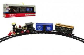 Teddies - Lokomotiva/Vlak + vagónky s dráhou 11ks plast 45cm na baterie v krabici 55x19x10cm