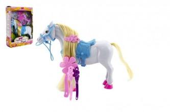 Kůň česací s doplňky plast 16cm v krabici 18x23x6cm