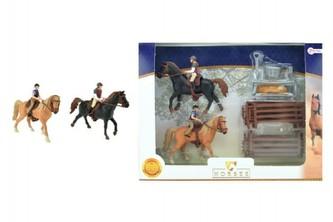 Teddies - Sada kůň 2ks + žokejové s doplňky farma plast v krabici 37x28x5cm