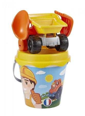 Ecoiffier - Kyblíček se stavebním autem a příslušenstvím, 17 cm