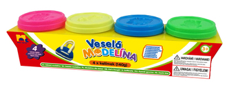 Modelína 4x 140g neonové barvy - Kids Toys