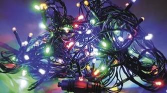 VENKOVNÍ SVĚTELNÝ LED ŘETĚZ MULTICOLOR na baterie s časovačem 5m, 100LED, 32018
