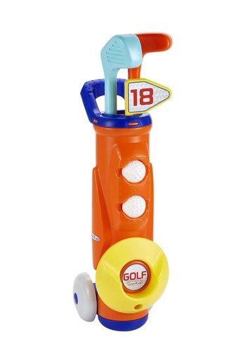 Golfový vozík s holemi a míčky