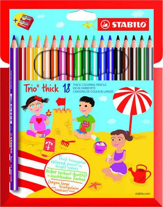 Stabilo - STABILO Trio thick - sada 18 ks s ořezávátkem