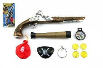 Pirátská sada- Pistole+dalekohled s doplňky plast na kartě 20x43x6cm