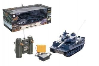 Teddies - Tank RC plast 33cm TIGER I 27MHz na baterie+dobíjecí pack se zvukem a světlem v krabici 40x15x19cm