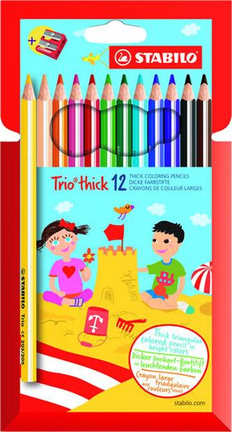 Stabilo - STABILO Trio thick - sada 12 ks s ořezávátkem