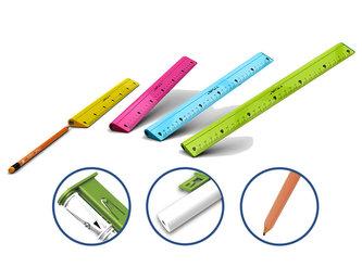 Y-Plus - 4 v 1 multifunkční pravítko 30 cm s tužkou, pryží a ořezávátkem, mix barev