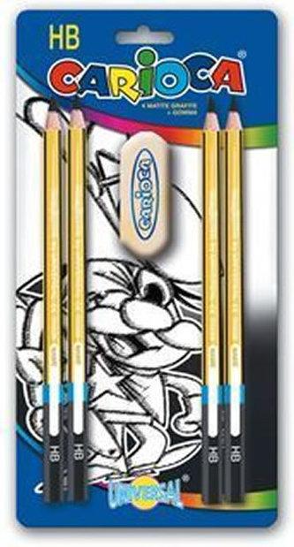 CARIOCA - CARIOCA trojhranné grafitové tužky 4 ks, tvrdost HB