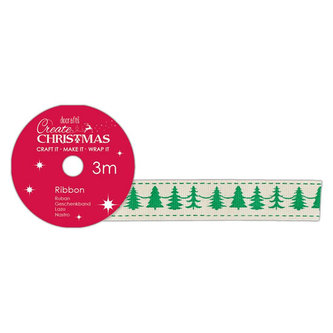 DOCRAFTS - DOCRAFTS bavlněná krémová stuha - vánoční stromky 1,5 cm x 3 m