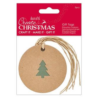 DOCRAFTS - DOCRAFTS kraftová vánoční ozdoba - stromek 5 ks
