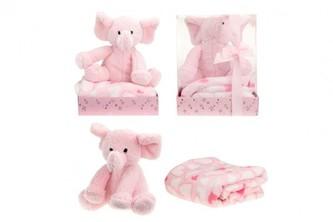 Sada slon plyš + deka růžový v blistru 20x26x18cm - Teddies