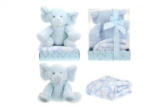 Sada slon plyš + deka modrý v blistru 20x26x18cm - Teddies