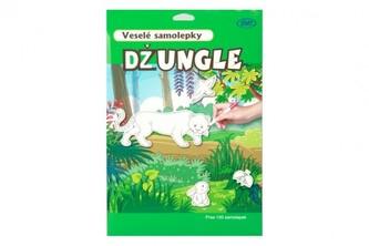 Veselé samolepky Džungle 58ks samolepek 12ks A4 pozadí na kartě