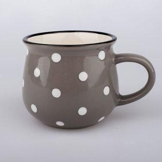 Malý keramický hrnek s puntíky - šedý
