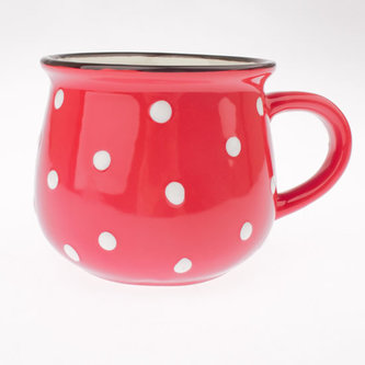 Malý keramický hrnek s puntíky - červený