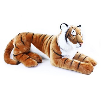 Velký plyšový tygr ležící, 92 cm
