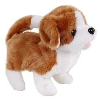 Pes plyšový 17cm bílo-hnědý chodící na baterie se zvukem 12m+ v krabičce