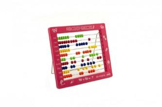 Počítadlo kuličkové 100 kuliček plast 19x16cm 4 barvy 36ks v boxu