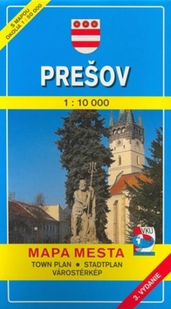 Prešov 1:10 000 Mapa mesta Town plan Stadtplan Plan miasta Várostérkép