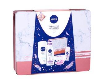 Nivea Care zklidňující krém 200 ml + sprchový krém Creme Soft 250 ml + micelární voda MicellAIR 200 ml + roll-on Pearl & Beauty 50 ml + plechová dóza