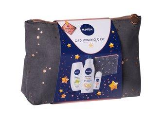 Nivea Q10 Energy+ tělové mléko 400 ml + sprchový krém Care & Star Fruit 250 ml + antiperspirant roll-on Stress-Protect 50 ml + kosmetická taštička