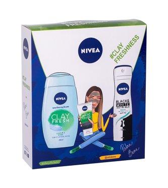 Nivea Clay Fresh sprchový gel 250 ml + čisticí krém 3v1 Urban Skin Detox Clay Wash 150 ml + antiperspirant sprej Black & White Invisible Fresh 150 ml