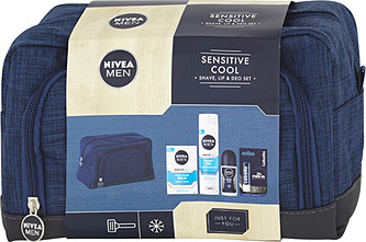 Nivea Men Sensitive balzám po holení 100 ml + gel na holení 200 ml + antipespirant roll-on Cool Kick 50 ml + balzám na rty Labello Active For Men 4,8 g + kosmetická taška