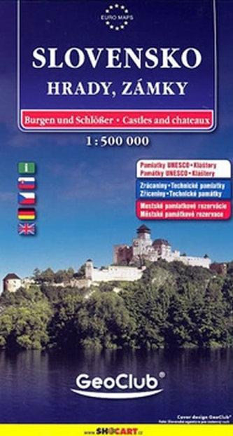 Slovensko Hrady, zámky 1:500 000