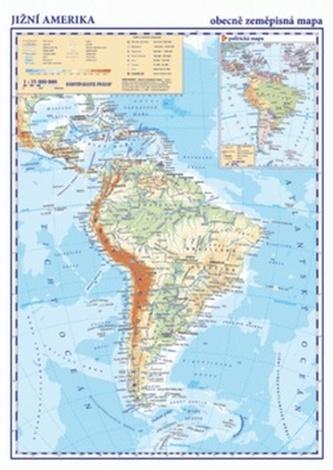 Jižní Amerika Obecně zeměpisná mapa