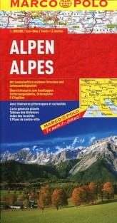 Alpy Alpen Alpes Alpi Alps 1:800 000